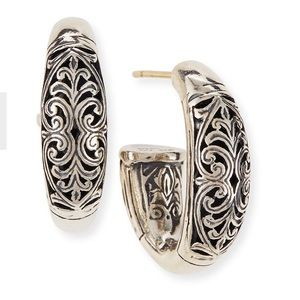 Konstantino Sterling Silver Etched Hoop Earrings